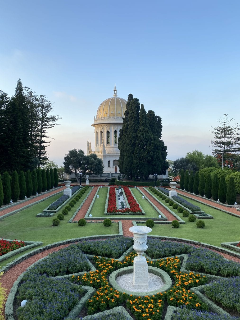 The Bahá'í Gardens in Haifa comprise a staircase of nineteen terraces extending all the way up the northern slope of Mount Carmel